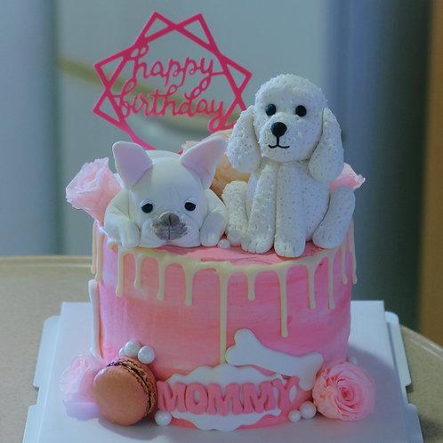 White Doggies Cream Cake