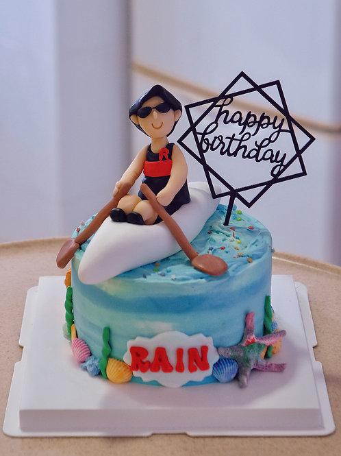 Boat Rowing Fondant Cake