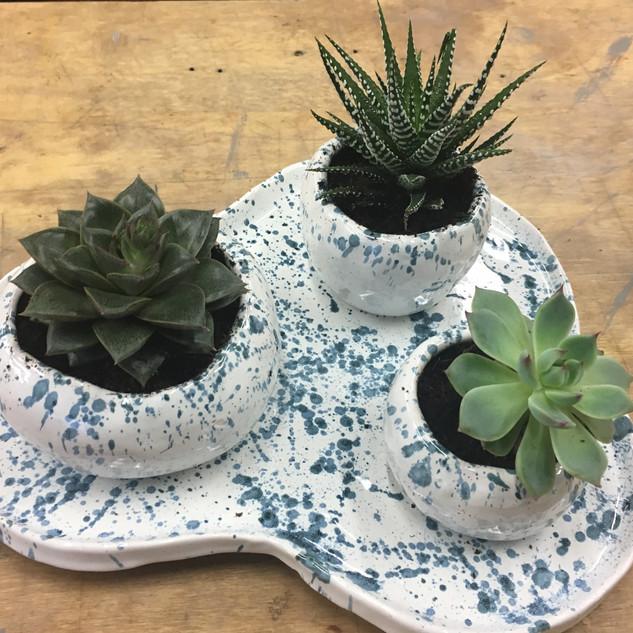 Dish with Three small pots £45