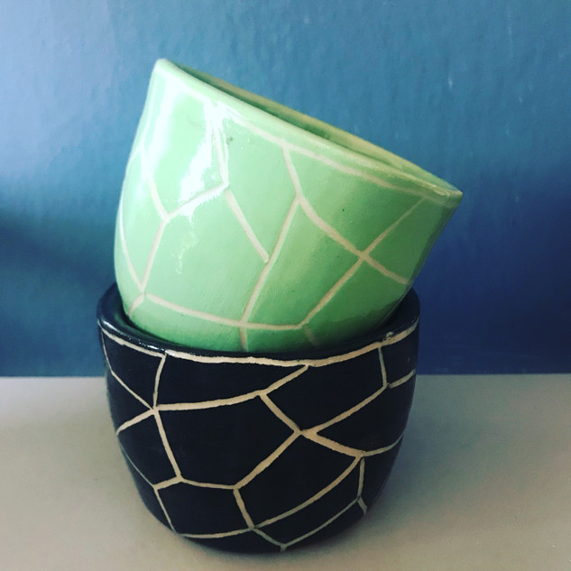 Small Carved Pots £15 each
