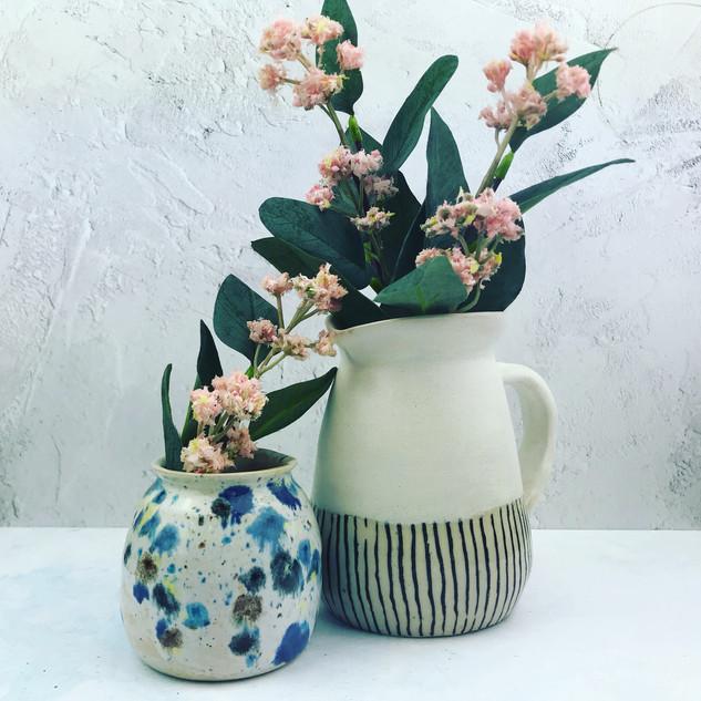 bud vase £12, large white vase £40