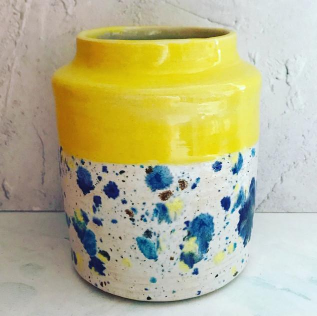Large Yellow & Confetti Pot