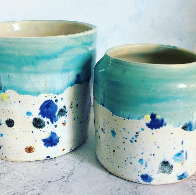 Small Shoreline vase £16 and medium shoreline pot £18
