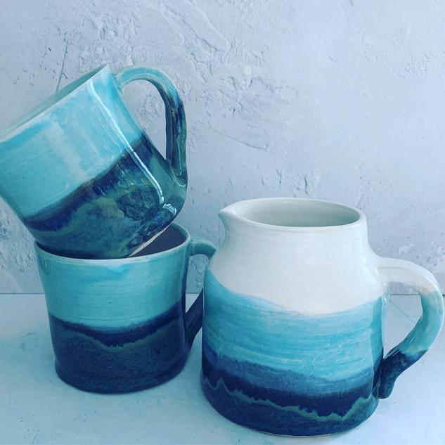 Scottish Landscape mugs £15 each, Small Scottish Landscape Jug £25