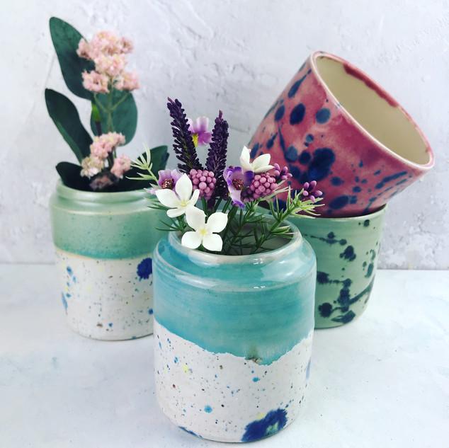 medium vases £18, small paint splatter pots £14