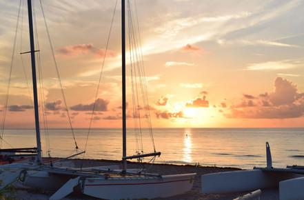 Delray Sailboats with Paddleboarder clos