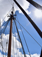 Sailboat Rigging Against Blue Sky 13930.