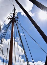 Sailboat Rigging Against Blue Sky 13930.