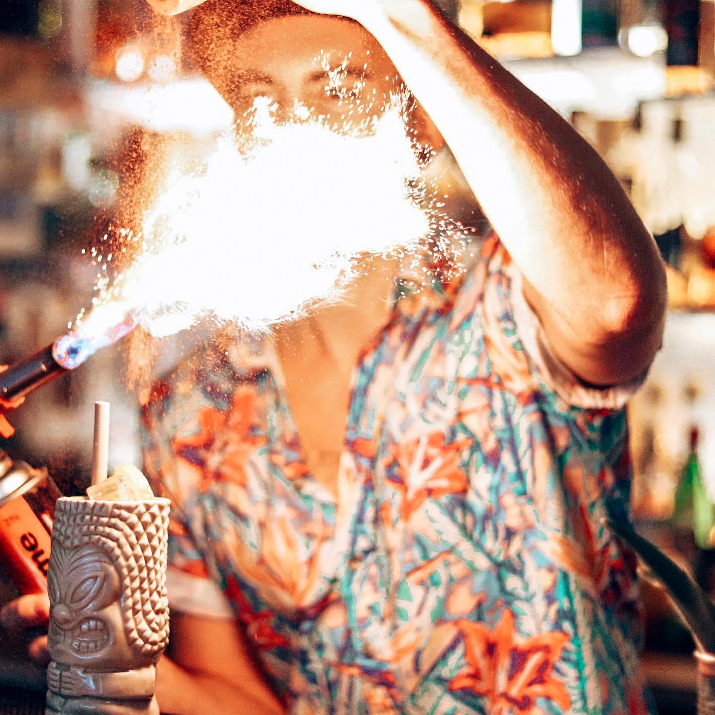 Cocktails at Flamingos Tiki Bar