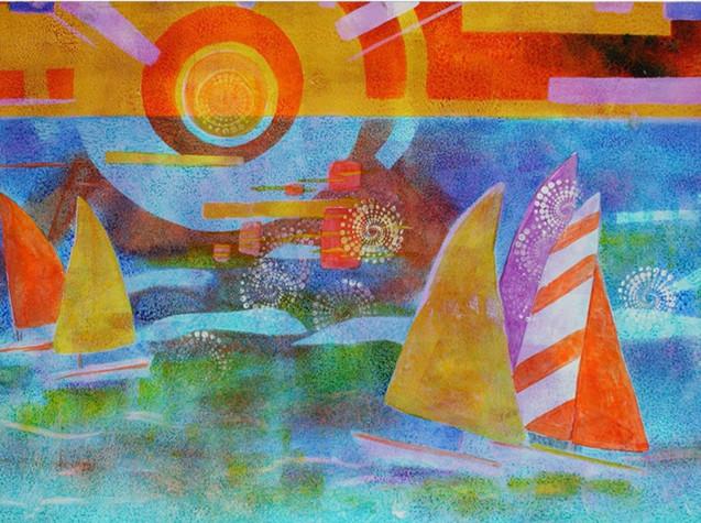 Abtract Watercolor Sailboats (K114)