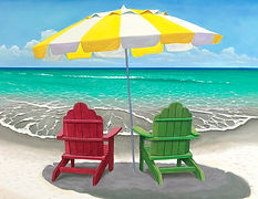 Adirondack Chairs with Umbrella on Beach