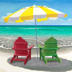 Adirondack Chairs with Umbrella on Beach