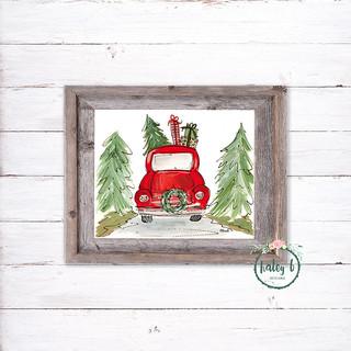 Christmas Truck Red 8x10 framed-lr.jpg