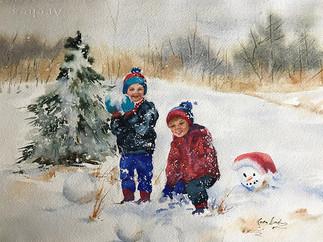 Boys Building Snowman (K68)