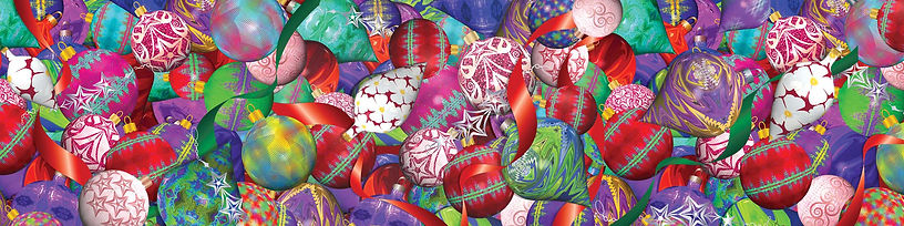 Christmas art to license from Suzan Lind.  Ornaments in 3D.