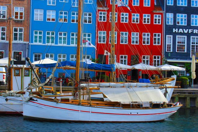 Nyhavn Canal Copenhagen with White Sailboat