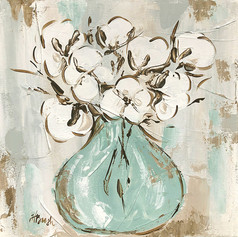 cotton flowers in teal vase abstract squ