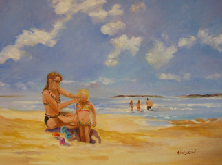 Mom and Daughter on the Beach (K58)