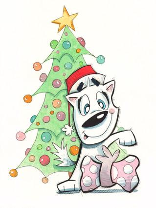 Christmas Dog With Tree
