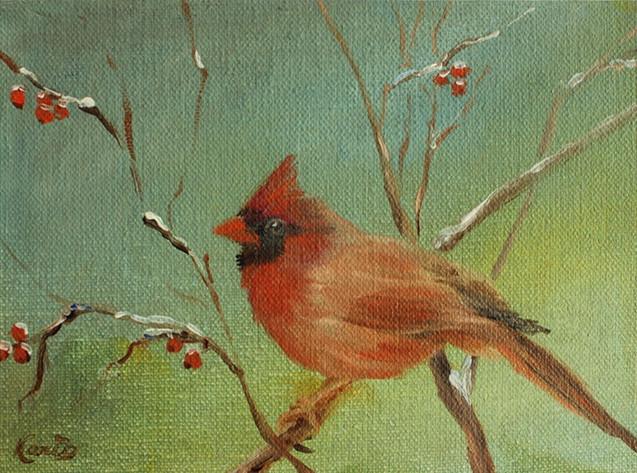 Cardinal on Holly Branch (K108)