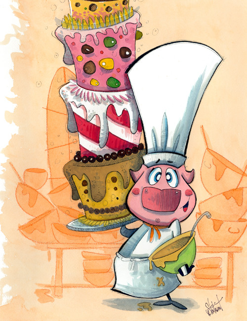 Pig with Cakes (Pigs Collection)