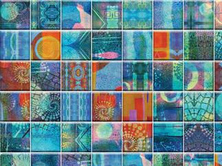 Kala Teal, Blue, Reds Watercolor Tiles