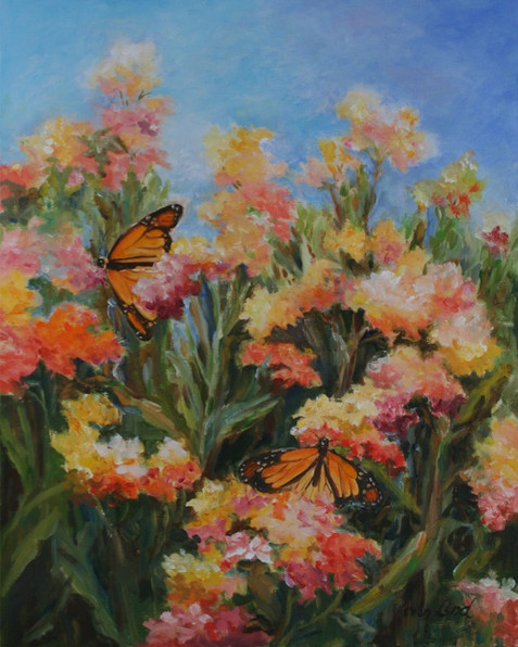 Field of Flowers with Monarch Butterfly