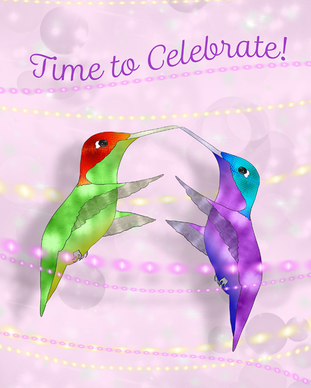 Two Hummingbirds Celebrate