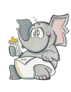 Baby Elephant with Bottle