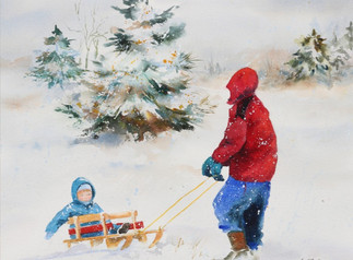 Boys with Sled in the Snow (K120)