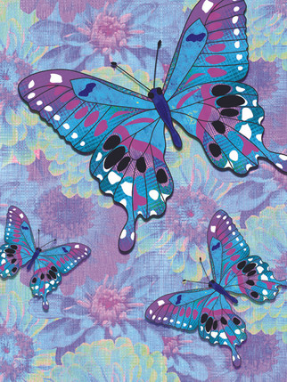 Butterflies, Purple and Blue BFy-6b