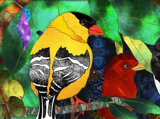 Bird Medley 3- Goldfinch detail
