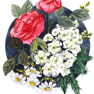 Roses and Daisies on Dark Circ