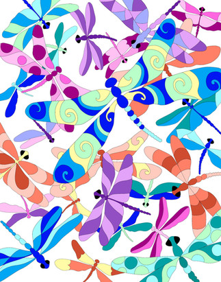 Dragonflies-white background