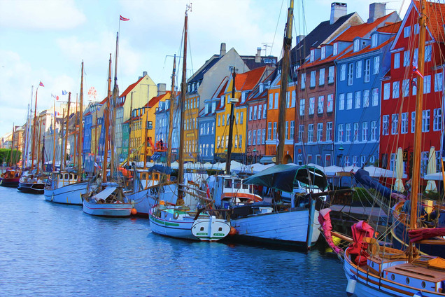 Nyhvn Canal with Sailboats, Copenhagen, Denmark