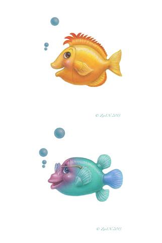 Yellow Fish and fish with eyeglasses.jpg