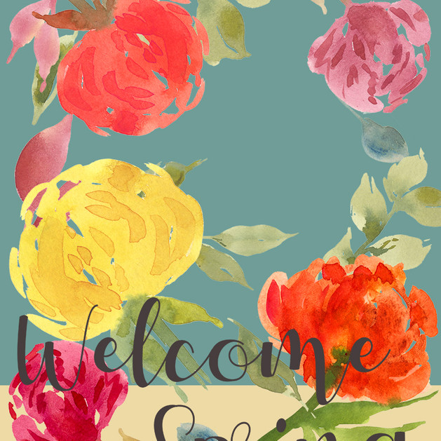 Welcome Spring Bouquet Garden Flag 13x18