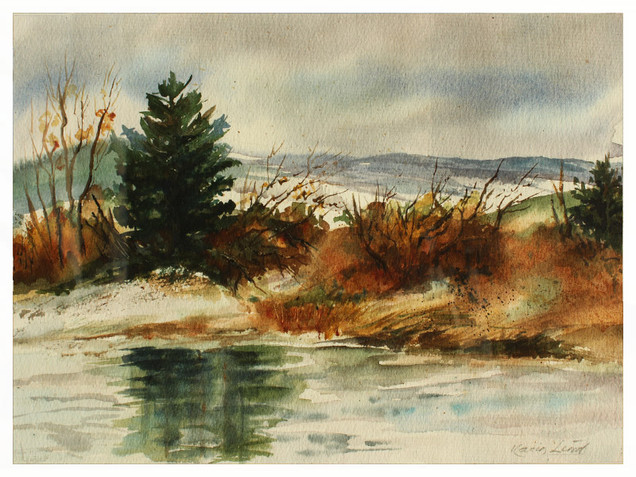 Watercolor Winter Pine (K107)