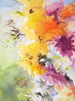 Abstract Flowers Yellow and Pink (K103)