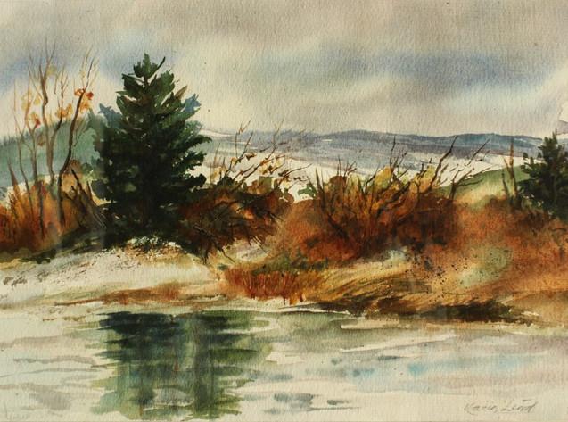 Watercolor Winter Pine (K107)