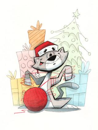 Christmas Cat With Yarn