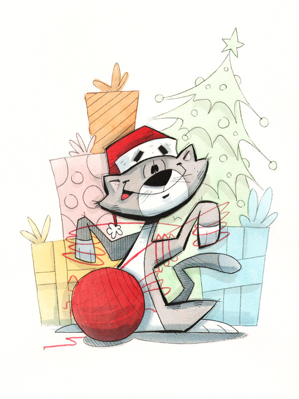 Christmas Cat With Yarn