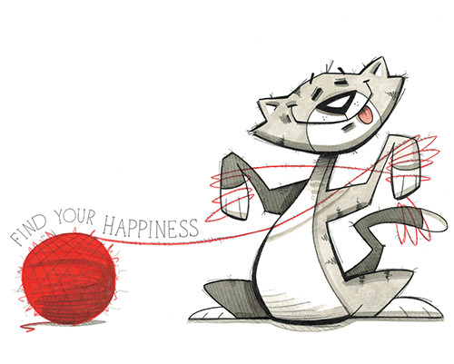 Find Your Happiness-1 (Cat with Yarn)