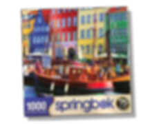 Newly licensed image of Nyhavn Street in Copenhagen by Suzan Lind, this puzzle by Springbok is 1000 pieces and a grea challenge to piece together!