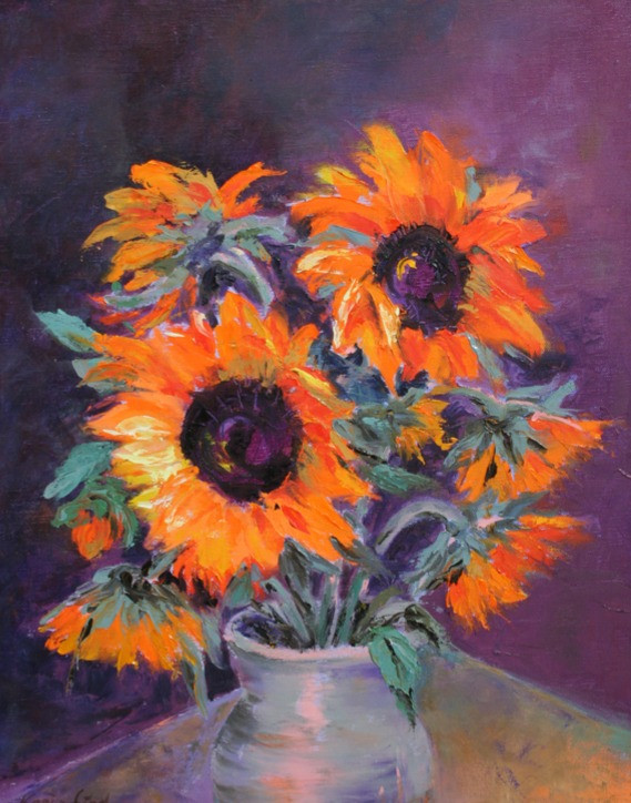 Bright Sunflowers in Vase (K33)