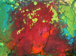 Abstract Red_Green Watercolor (K101)