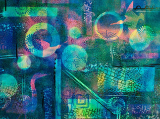 Abstract Collage of Blues, Green and Pin