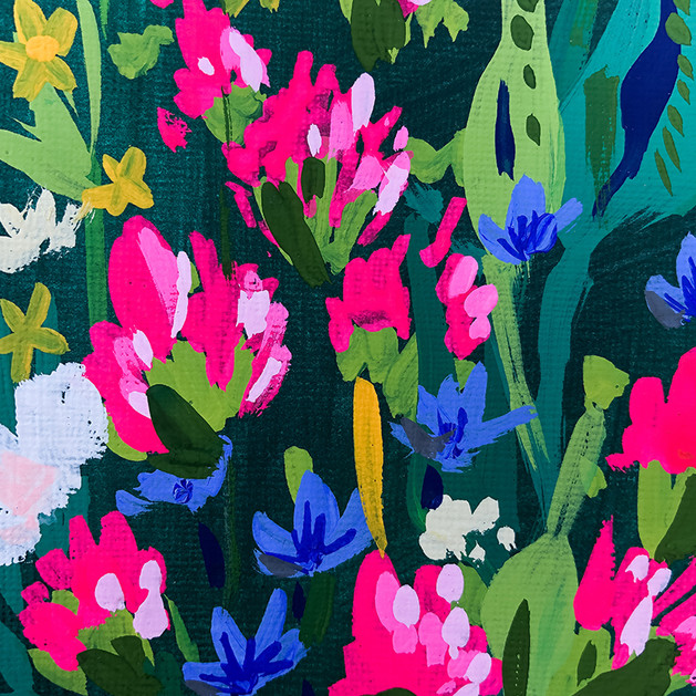 Bright Wildflowers on Blue Background