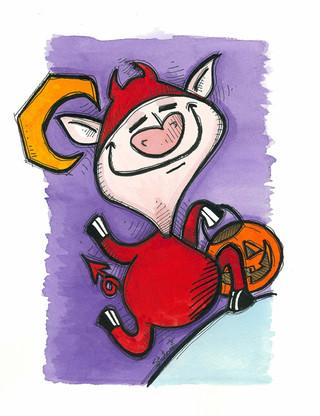 Deviled Ham Halloween Pig (Pigs Collecti