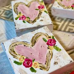Heart Paintings on Wood Blocks